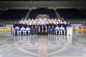 Lucked into a team photo with the Toronto Marlies (me=last person, second row, right)