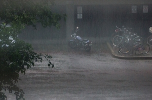 Heavy rains make for sodden cycling