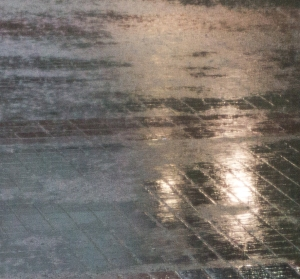 Background lights reflect off watery pavement