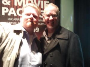 Patrick Bristow and I await dinner near the theatre (no earthquake, just shaky camera)