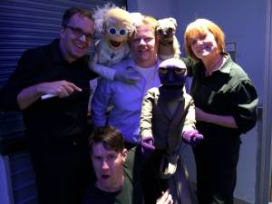 (L-to-R) Was able to add Michael Oosterom to the list of puppeteers with Brian Clark and Peggy Etra (Grant Baciocco on camera)