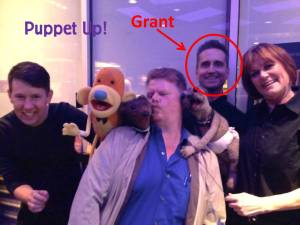 The wonderful Grant and his weasel buddy join me for a post-show photo (also shown Peggy Etra and Brian Clark).