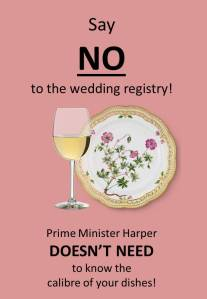 Cheap shot at Cdn long-gun registry debate and weddings in general