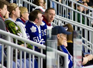 Mark (facing us) came all the way from the UK to watch the Marlies play. Toronto sports reporters, not so much.