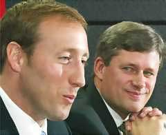 MacKay blows kisses as PM Harper stares on lovingly